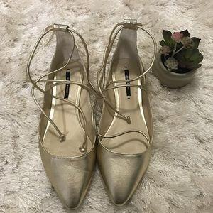 Zara Metallic Gold Ankle Tie Flats